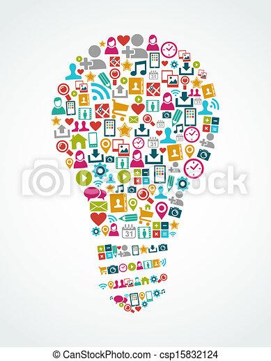 fény, eps10, ikonok, média, gondolat, elszigetelt, társadalmi, gumó, file. - csp15832124