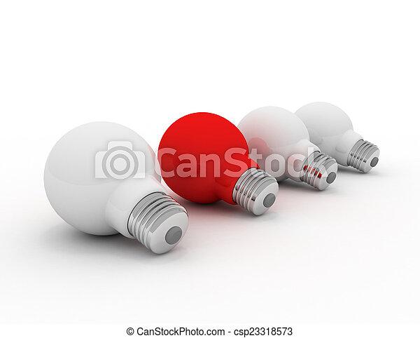 fény, különböző, gondolat, piros, gumó - csp23318573