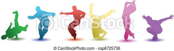 fényes, táncosok, hat, színes - csp6725736