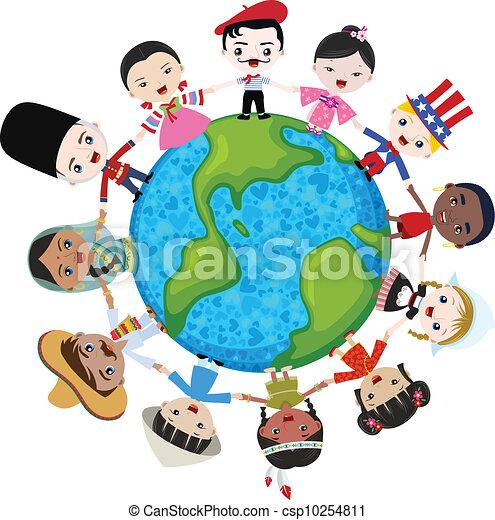 földdel feltölt, multicultural, gyerekek - csp10254811