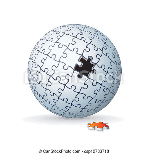földgolyó, rejtvény, lombfűrész, sphere., vektor, kép, 3 - csp12783718