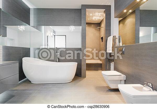 fürdőszoba, modern, freestanding, fürdőkád - csp28630906
