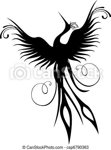főnix madár, madár, alak, elszigetelt - csp6790363
