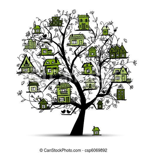fa ág, zöld, épület - csp6069892