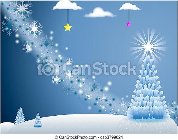 fa, blue háttér, ünnep, karácsony, csillaggal díszít, színhely, hópihe, fehér - csp3799024