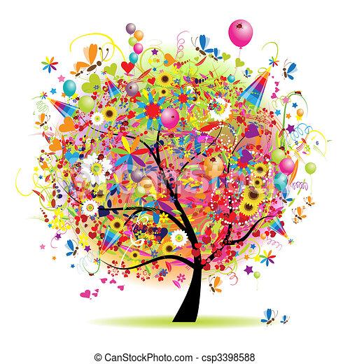 fa, boldog, ünnep, furcsa, léggömb - csp3398588