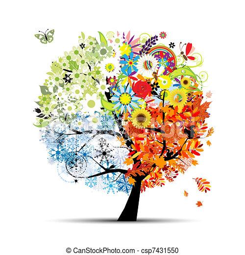 fa, -e, eredet, winter., fűszerezni, -, ősz, nyár, művészet, négy, tervezés, gyönyörű - csp7431550
