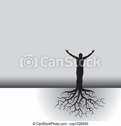 fa, gyökér, ember - csp1526300
