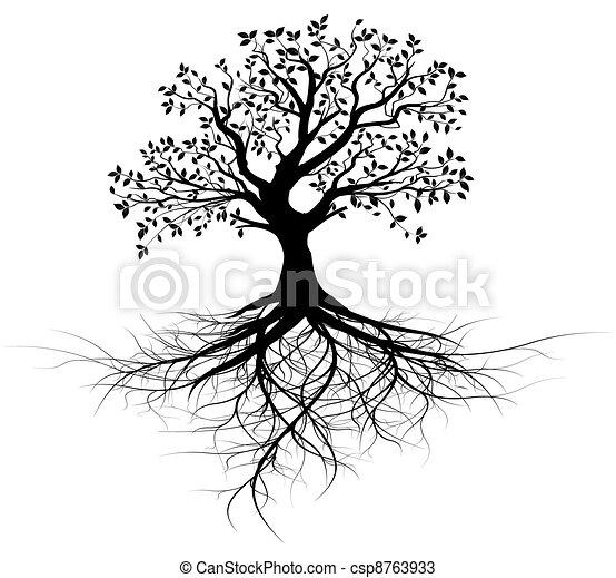 fa, vektor, egész, gyökér, fekete - csp8763933
