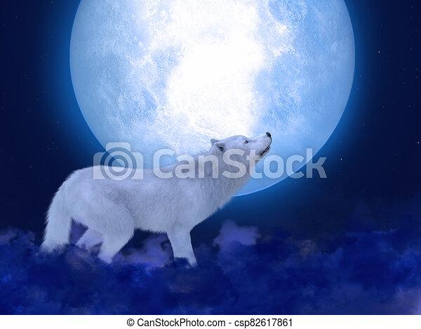 farkas, 3, moonlight., méltóságteljes, fehér, vakolás - csp82617861