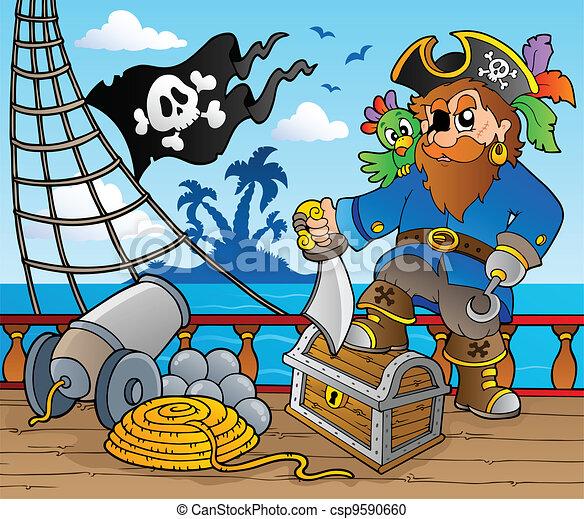 fedélzet, hajó, 2, téma, kalóz - csp9590660