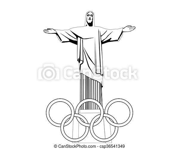 fehér, fekete, rajz, szobor, jézus - csp36541349