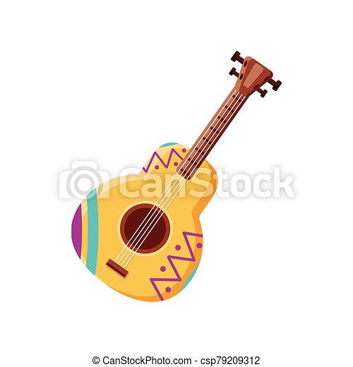 fehér, gitár, mexikói, háttér - csp79209312