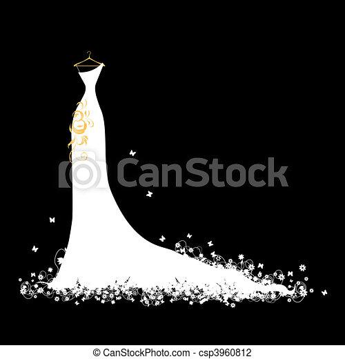 fehér, hirdetmények, ruha, esküvő - csp3960812