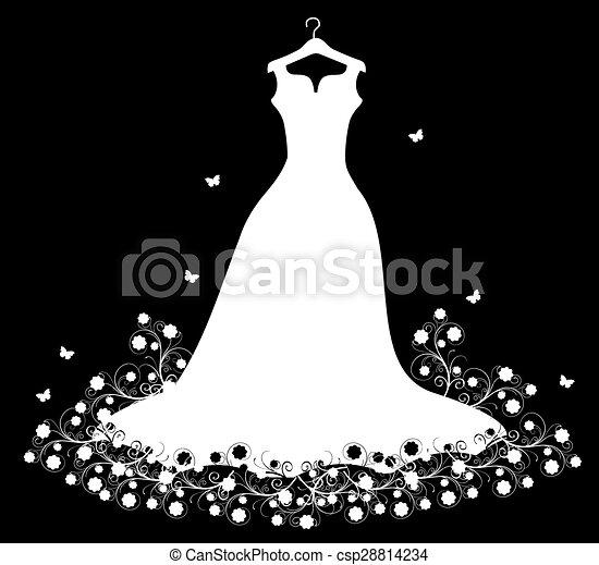 fehér, hirdetmények, ruha, esküvő - csp28814234