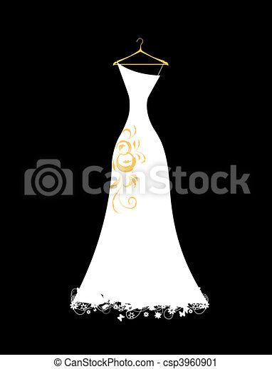 fehér, hirdetmények, ruha, esküvő - csp3960901
