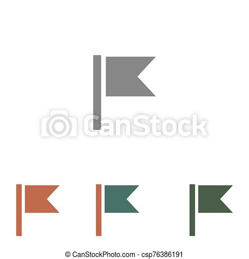 fehér, ikon, lobogó, elszigetelt, háttér - csp76386191