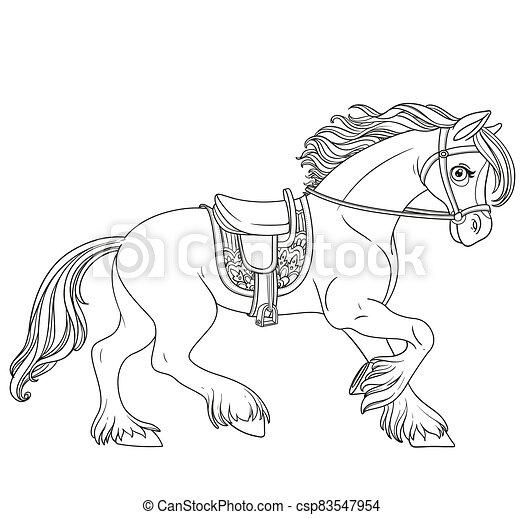 fehér, körvonalazott, elszigetelt, csinos, hám, előmozdít, harnessed, karikatúra, fut, háttér, ló - csp83547954