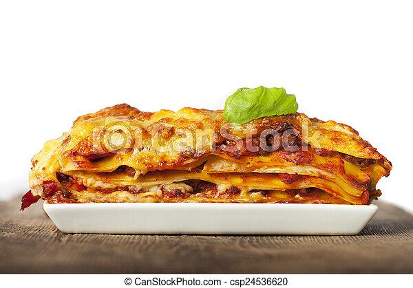 fehér, lasagna, tányér - csp24536620