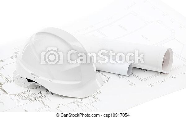 fehér, nehéz kalap, csekkszámlák, dolgozó - csp10317054