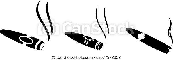 fehér, szivar, háttér, elszigetelt, ikon - csp77972852