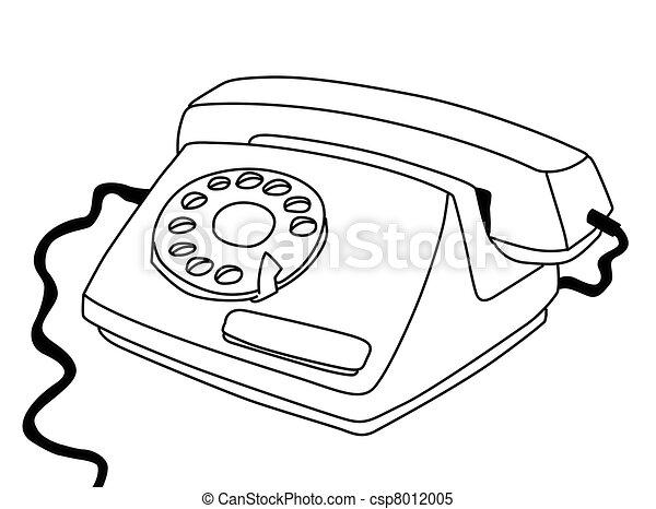 fehér, telefon, háttér, rajz - csp8012005