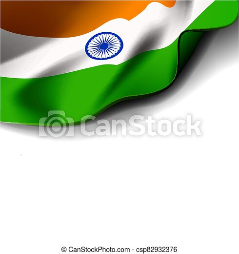 fehér, vektor, háttér, lobogó lenget, ábra, india - csp82932376