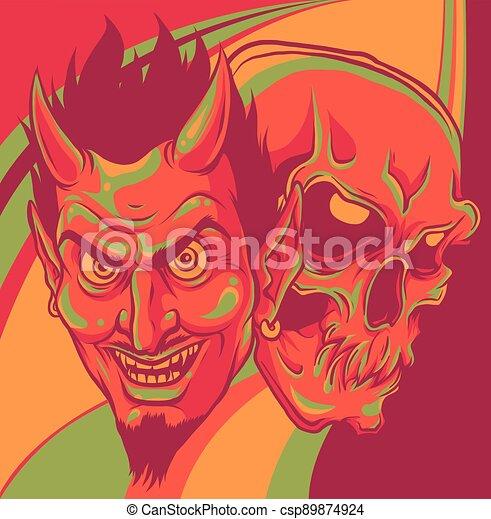 fej, tervezés, koponya, ábra, ördög, vektor - csp89874924