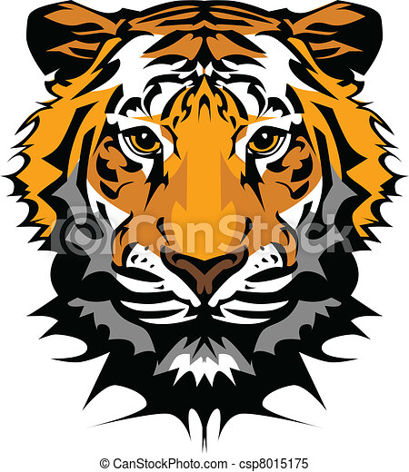 fej, tiger, vektor, kabala, grafikus - csp8015175