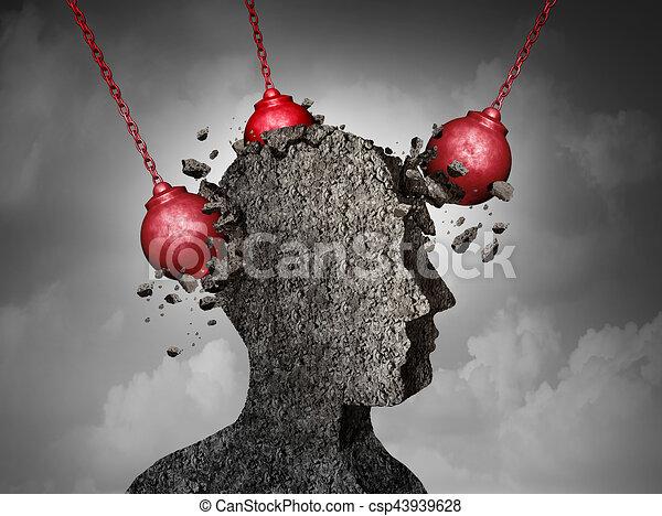 fejfájás, fogalom, fájdalmas - csp43939628