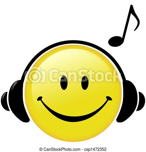 fejhallgató, jegyzet, zenés, boldog, zene - csp1472352