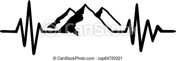 fekete, egyenes, fehér, szívdobbanás, hegy - csp64720221