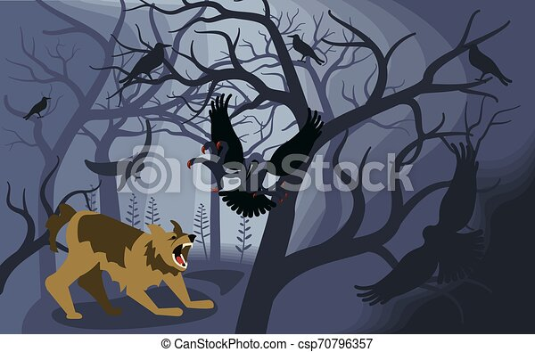 fekete, fosztogat, verekszik, képzelt, farkasember - csp70796357