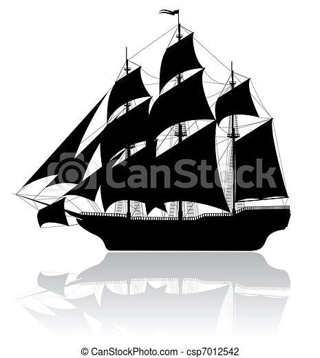 fekete, hajó, öreg - csp7012542