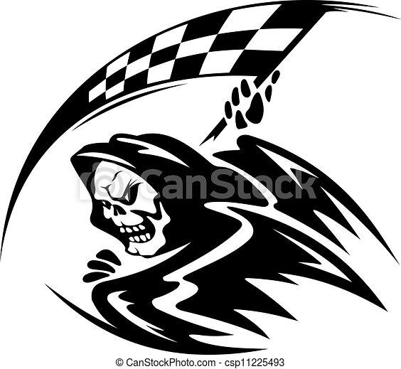 fekete, lobogó, halál, démon, ckeckered - csp11225493