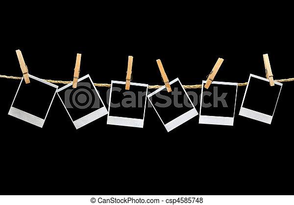 fekete, polaroids, háttér, függő - csp4585748