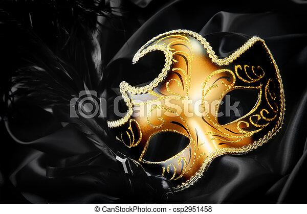 fekete, selyem, maszk, háttér, farsang - csp2951458