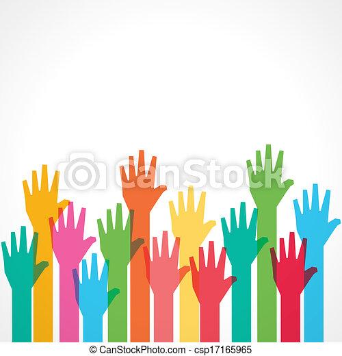 feláll, színes, háttér, kéz - csp17165965