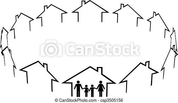 felebarátok, család, közösség, épület, otthon, talál - csp3505156