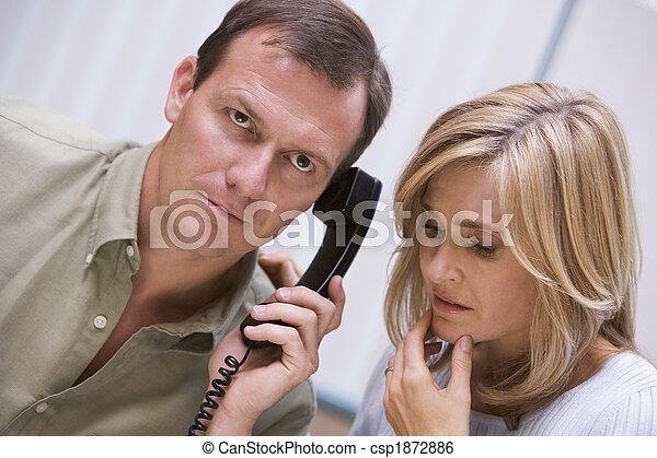 felett, telefon, rossz hír, felfogó, párosít - csp1872886