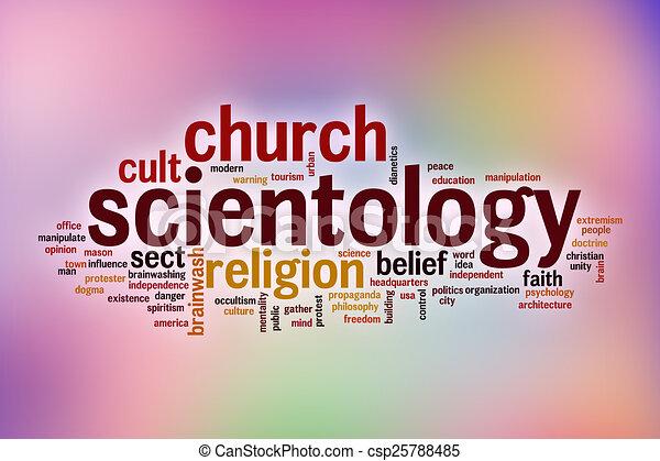 felhő, elvont, szó, scientology, háttér - csp25788485