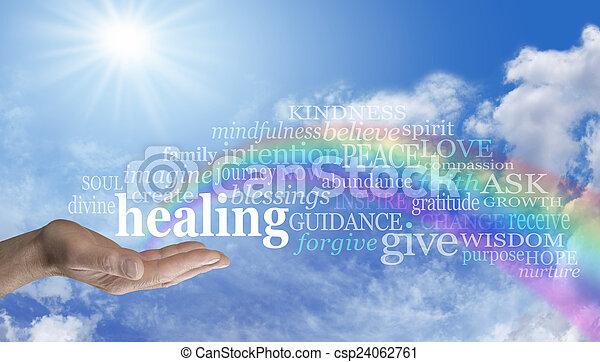 felhő, szivárvány, ég, gyógyulás, szó - csp24062761
