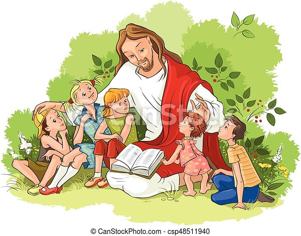 felolvasás, jézus, biblia, gyerekek - csp48511940