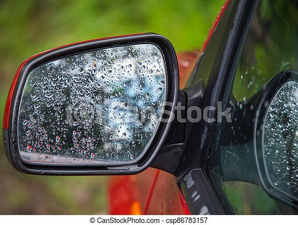 fenék, eső, szegély nézet tükör, autó, savanyúcukorka - csp86783157