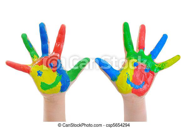 festett, kéz, gyermek - csp5654294