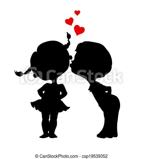 fiú, körvonal, leány, csókolózás - csp19539352