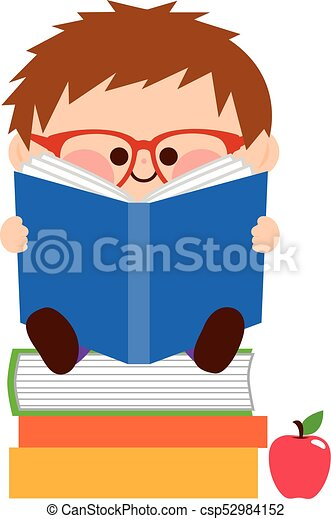 fiú, kevés, books., ábra, vektor, felolvasás - csp52984152