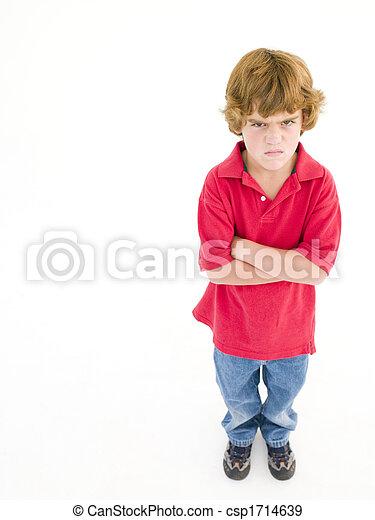 fiú, mérges, keresztbe tett, fiatal, fegyver - csp1714639