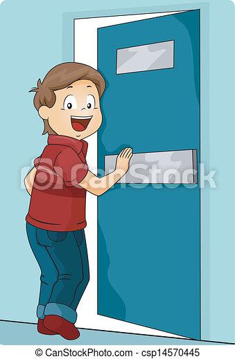 fiú, rámenős, ajtó, kölyök, beír - csp14570445