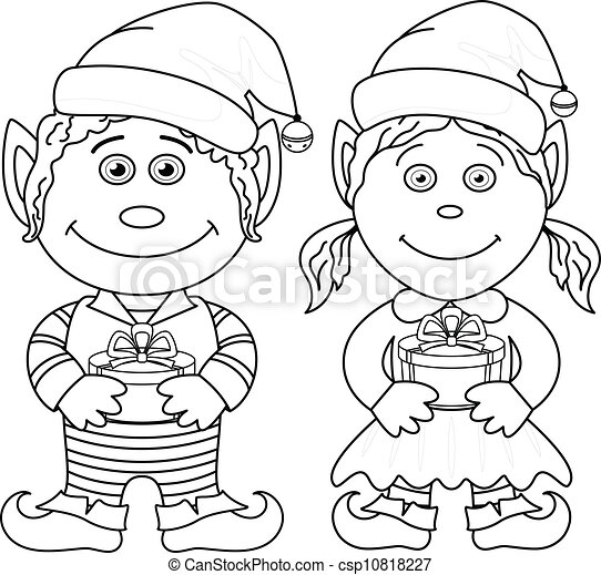 fiú, törpék, leány, áttekintés, karácsony - csp10818227